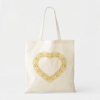 Corazón afiligranado - oro - tote del presupuesto bolsa