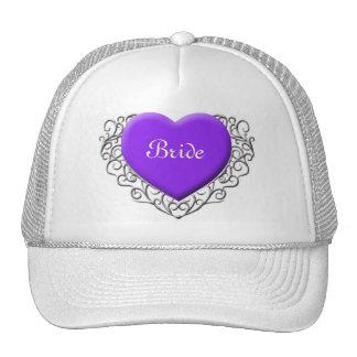 Corazón afiligranado púrpura, novia gorros bordados