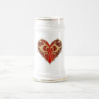 Corazón afiligranado rojo Stein Taza De Café