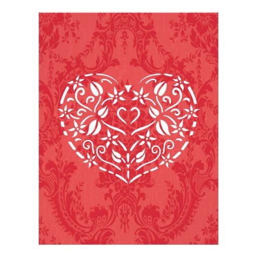 Corazón afiligranado tarjeta publicitaria