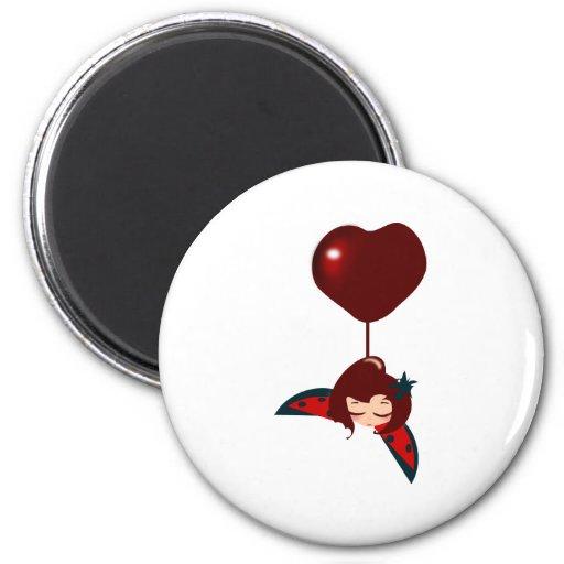 corazón afortunado imán redondo 5 cm