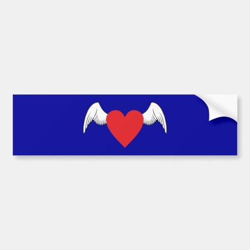 Corazón ala heart wings pegatina para auto