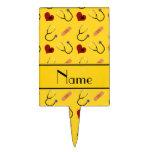 Corazón amarillo conocido de encargo del vendaje figura de tarta