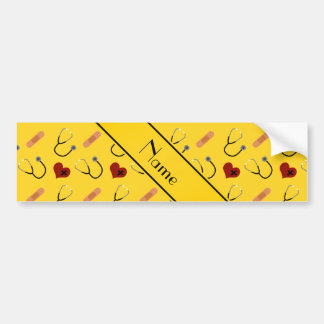 Corazón amarillo conocido de encargo del vendaje pegatina para coche