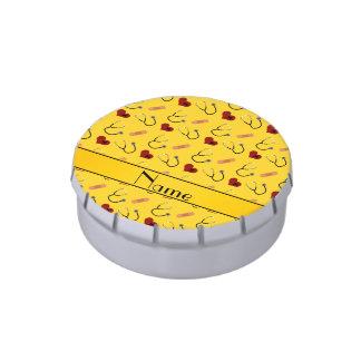 Corazón amarillo conocido de encargo del vendaje jarrones de dulces