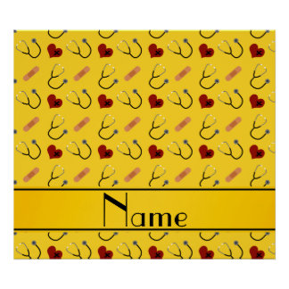 Corazón amarillo conocido de encargo del vendaje póster