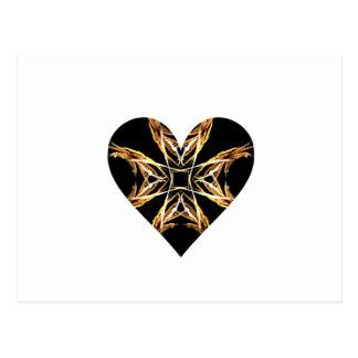 Corazón amarillo de la llama del arte del fractal postal