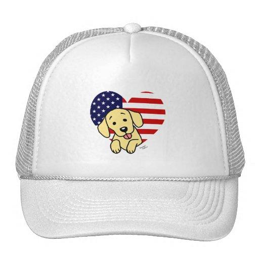 Corazón amarillo del americano de Labrador Gorras De Camionero