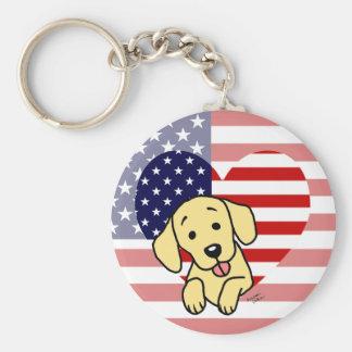 Corazón amarillo del americano de Labrador Llavero Personalizado