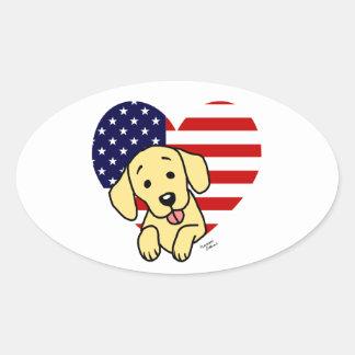 Corazón amarillo del americano de Labrador Pegatina Ovalada