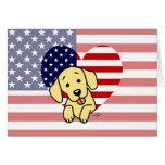 Corazón amarillo del americano de Labrador Tarjeton