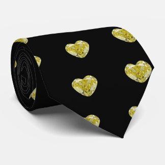 Corazón amarillo del diamante corbata