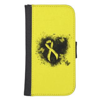 Corazón amarillo del Grunge de la cinta Funda Tipo Billetera Para Galaxy S4