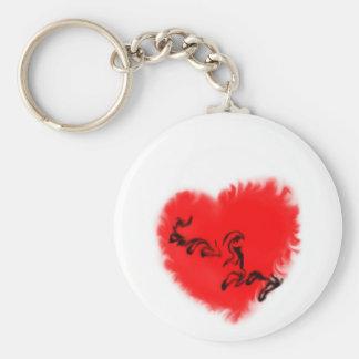 Corazón:  Ámele en humo Llavero Redondo Tipo Pin