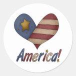 Corazón americana etiquetas redondas