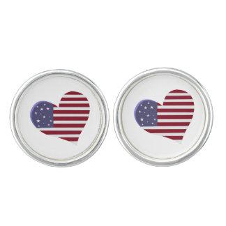 Corazón americana patriótico, blanco y azul rojos gemelos