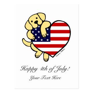 Corazón americano amarillo 2 de Labrador Postal