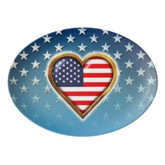 Corazón americano badeja de porcelana