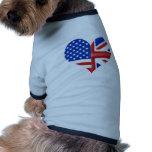 Corazón americano británico camisetas de perro