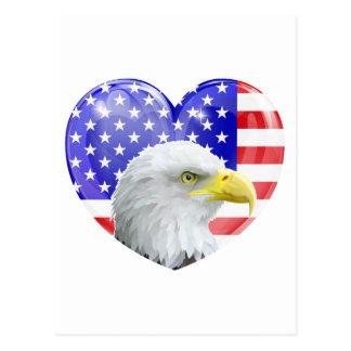 Corazón americano del amor de Eagle Postales