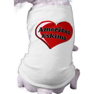 Corazón americano del perro esquimal playera sin mangas para perro