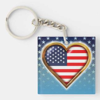 Corazón americano llavero cuadrado acrílico a doble cara