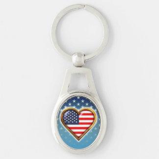Corazón americano llavero plateado ovalado