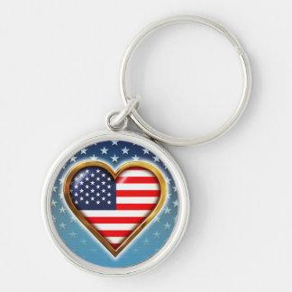 Corazón americano llavero redondo plateado