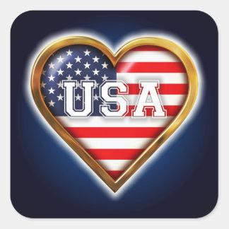 Corazón americano pegatina cuadrada