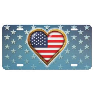 Corazón americano placa de matrícula