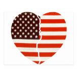 Corazón americano quebrado tarjetas postales