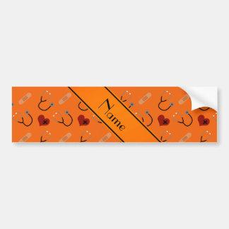 Corazón anaranjado conocido personalizado del pegatina para coche