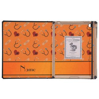 Corazón anaranjado conocido personalizado del iPad protector