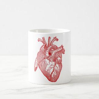 Corazón anatómico antiguo rojo taza clásica