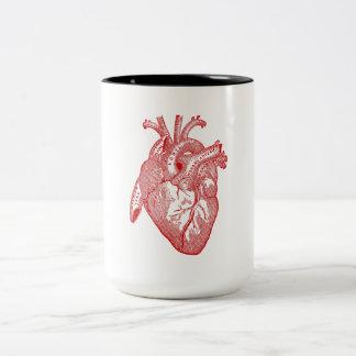 Corazón anatómico antiguo rojo taza de dos tonos