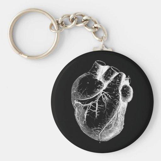 Corazón anatómico correcto llavero redondo tipo pin
