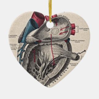 Corazón anatómico del vintage adorno navideño de cerámica en forma de corazón
