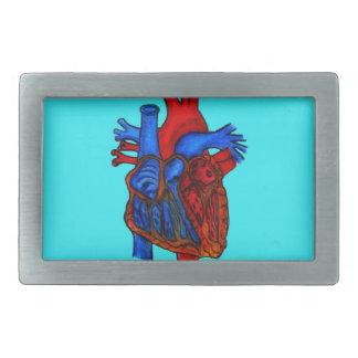 Corazón anatómico dibujado mano de la aguamarina hebilla cinturón rectangular