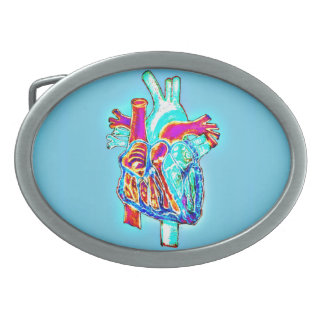 Corazón anatómico dibujado mano de neón hebillas cinturon ovales