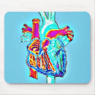 Corazón anatómico dibujado mano de neón mousepads