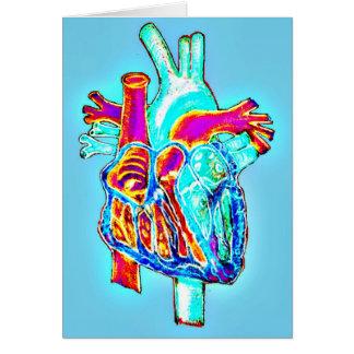Corazón anatómico dibujado mano de neón tarjeta de felicitación