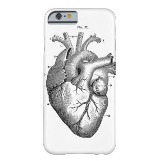 Corazón anatómico negro funda de iPhone 6 barely there