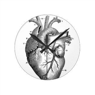 Corazón anatómico negro reloj redondo mediano