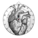 Corazón anatómico negro tablero de dardos