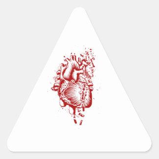 Corazón anatómico pegatina triangular