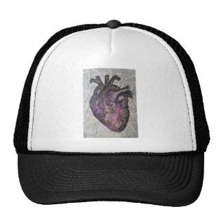 Corazón anatómico, pintura original gorros bordados