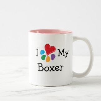 Corazón animal de Lover_I mi boxeador Tazas De Café