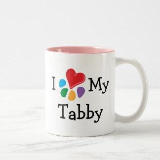 Corazón animal de Lover_I mi Tabby Taza De Dos Tonos