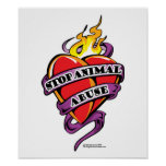 Corazón animal del tatuaje del abuso posters