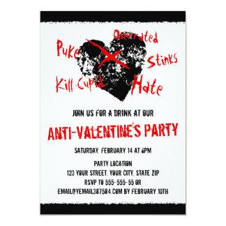 Corazón anti del negro del día de San Valentín Invitación 12,7 X 17,8 Cm